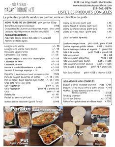 liste produits repas Madame Dupont 30-03-2020