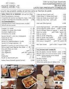produits repas livrés Madame Dupont