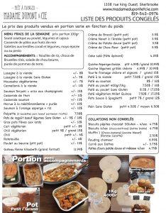 liste produits menu Madame Dupont 20-04-2020