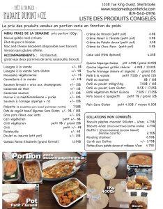 produits Madame Dupont repas commande livraison