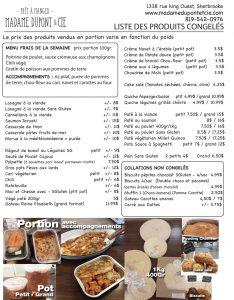 liste produits repas Madame Dupont 11-05-2020