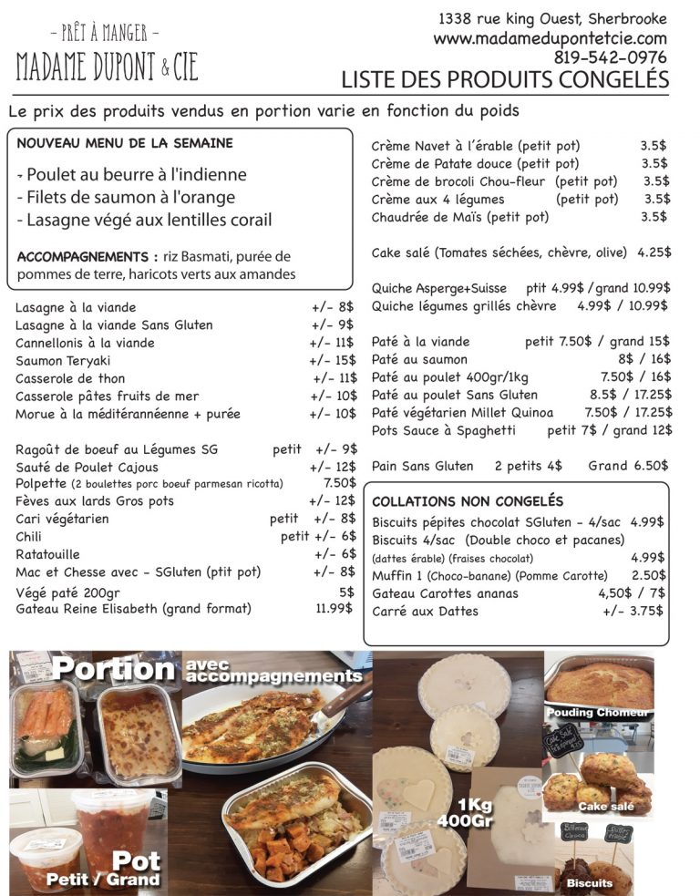 liste produits Madame Dupont 25-05-2020