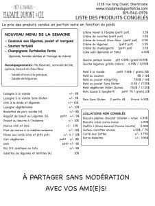 liste repas produits Madame Dupont