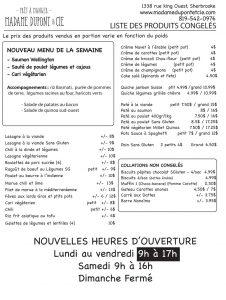 liste trepas produits Madame Dupont