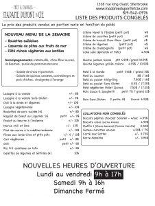 liste repas produits MadameDupont