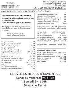 liste repas emporter produits Madame Dupont