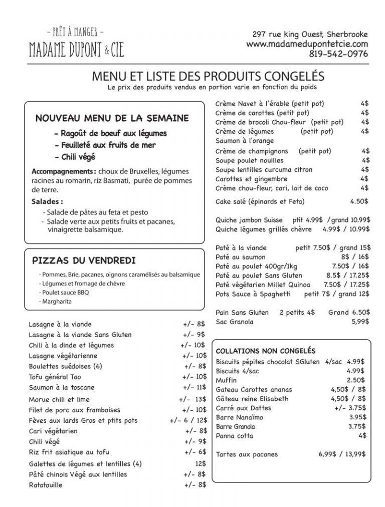 repas cuisinés pret à manger à emporter Madame Dupont